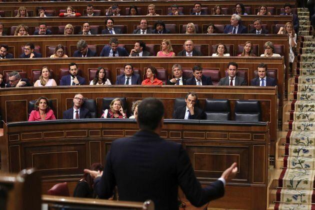 Sánchez en el hemiciclo del Congreso de los