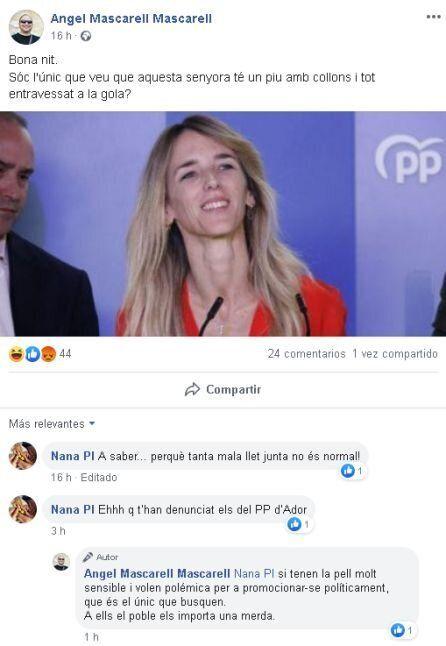 Comentario machista del concejal de Ador (Valencia) sobre Álvarez de Toledo
