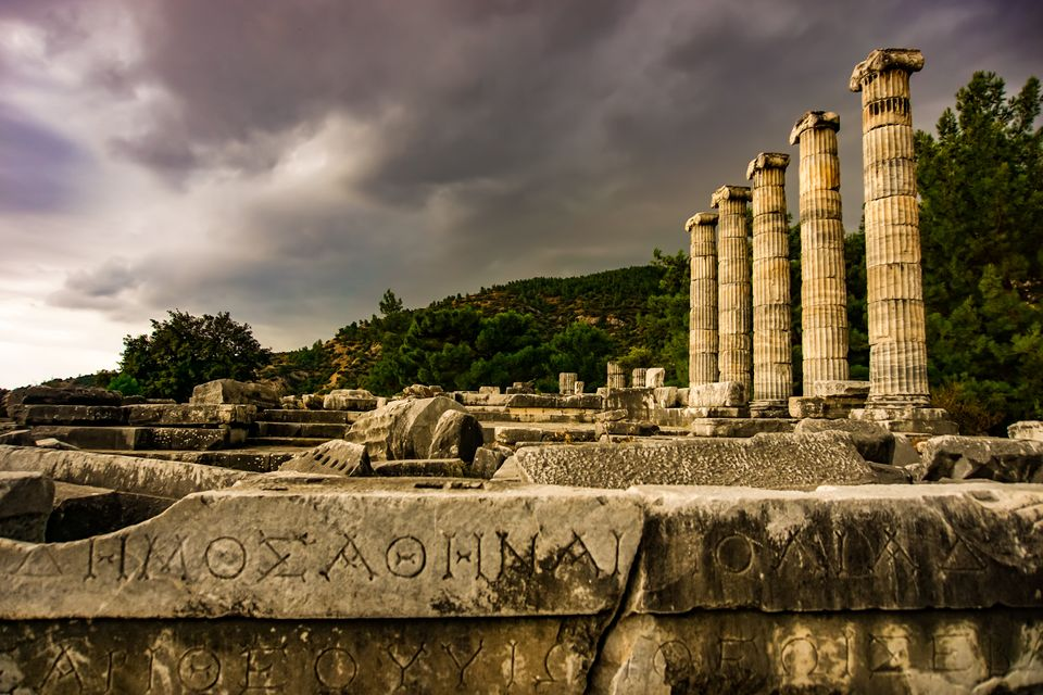 Athena Temple, Ancient, Greek City, Priene, Soke, Aydin,Turkey, Column, Inscription, Greek Alphabet