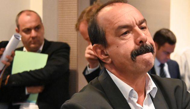 Laurent Berger (CFDT) et Philippe Martinez (CGT), lors des négociations sur la réforme des retraites,...