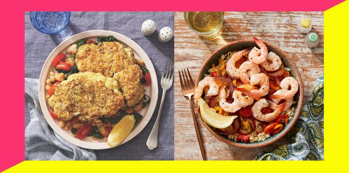 The first of the WW-approved recipes on Blue Apron's menu include parmesan-crusted cauliflower steaks (left) and Veracruz-style shrimp and veggies with brown rice (right).