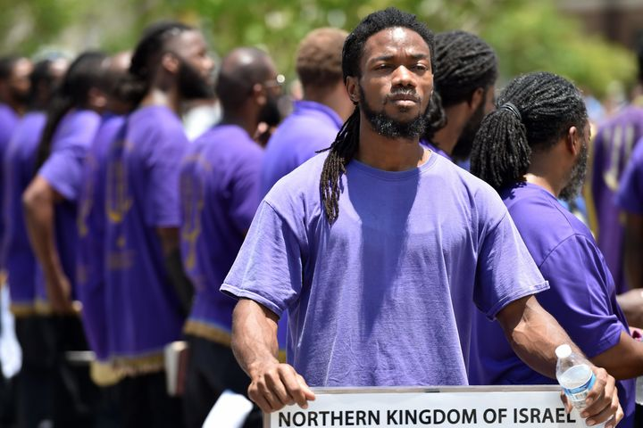 Members of the Black Hebrew Israelites gather for a prayer at the Emanuel AME Church, in Charleston, South Carolina on June 2