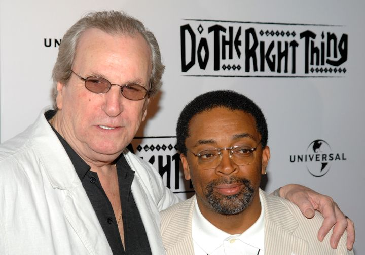 FILE - In this June 29, 2009 file photo, Director Spike Lee, right, and actor Danny Aiello attend a special 20th anniversary