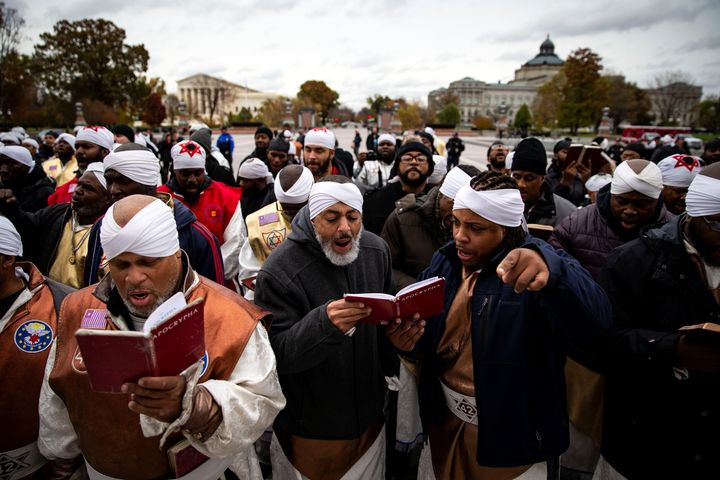 Members of the Black Hebrew Israelites demonstrate outside the U.S. Capitol in Washington, U.S., November 13, 2018.