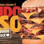 Com 2.500 kcal, novo sanduíche do BK tem cinco hambúrgueres e 20 fatias de