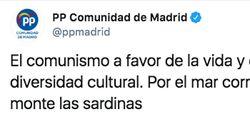El tuit del PP de Madrid sobre el comunismo que más está dando que