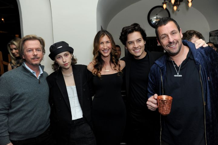 "David Spade, King Princess, Jackie Sandler, Cole Sprouse and Adam Sandler attend the Los Angeles premiere of ""Uncut Gems"" on"