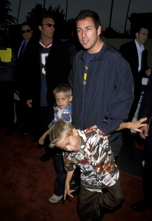 Adam Sandler, Cole Sprouse and Dylan Sprouse at the Avco Cinema in Westwood, California, in