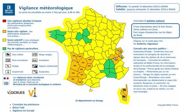 Météo France place 16 départements en vigilance orange vents violents et inondations