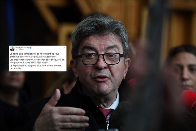 Jean-Luc Mélenchon interrogé par la presse à la sortie du tribunal de Bobigny le 9