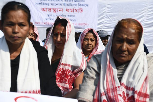 Protestors take part in a demonstration against the Citizenship Act in Guwahati on December 14,