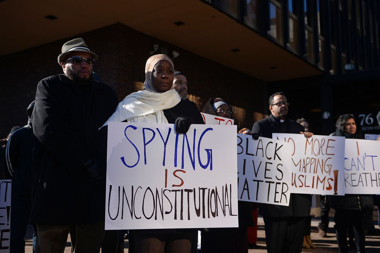 A rally for Muslim rights outside of the James A. Byrne Federal Courthouse in Philadelphia on Jan. 13, 2015.