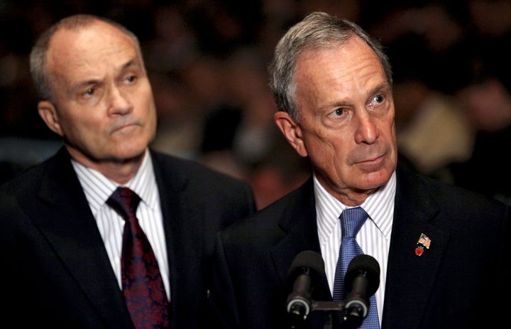 In this file photo from July 2010, then-New York City Mayor Michael Bloomberg (right) and then-NYPD Commissioner Raymond Kelly take questions after ceremonies swearing in new police recruits.