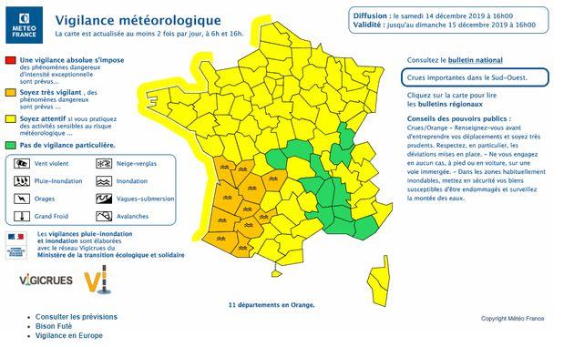11 départements maintenus en vigilance orange par Météo