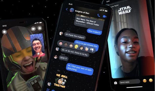 """『スター・ウォーズ』公開でFacebookのメッセンジャーが """"銀河""""に。ライトセーバーの光を自撮りで使える機能も"""