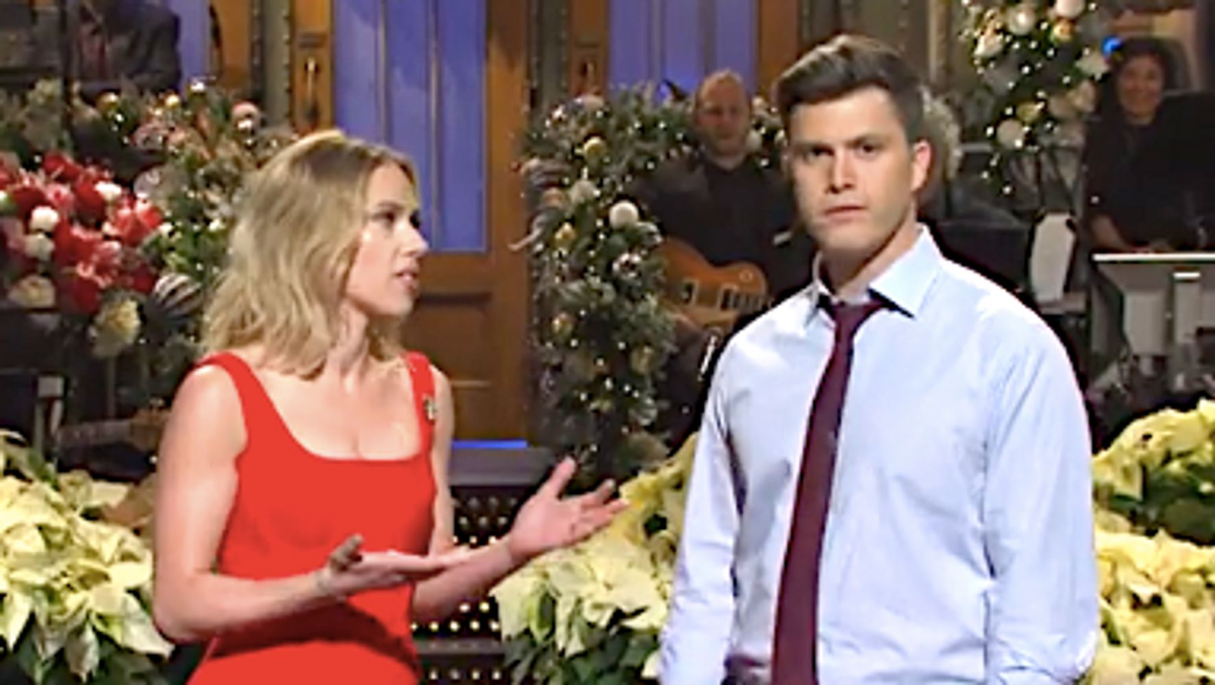 Westlake Legal Group 5df5d7db250000460298e28c Scarlett Johansson Puts It All Out There For Fiancé Colin Jost On 'SNL'