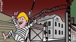 L'Ue come Auschwitz, con l'Inghilterra in fuga dal campo di sterminio: bufera sulla