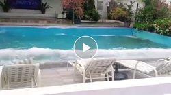 Il sisma si abbatte sulle Filippine. La piscina dell'hotel sembra un mare in tempesta
