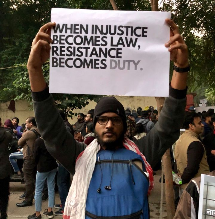 Protest against Citizenship Amendment Act in New Delhi on 14 December.