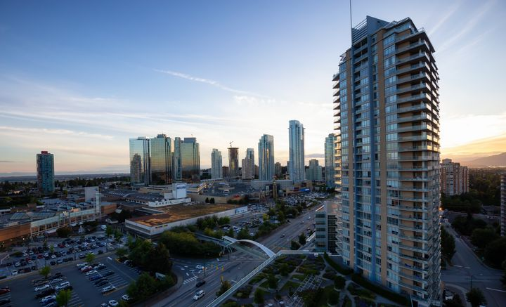 An aerial view of Metrotown in Burnaby, B.C.