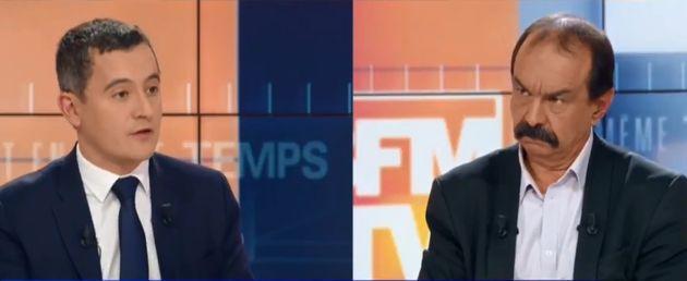 À l'image du leader de la CGT Philippe Martinez (à droite) et du ministre Gérald Darmanin, gouvernement...