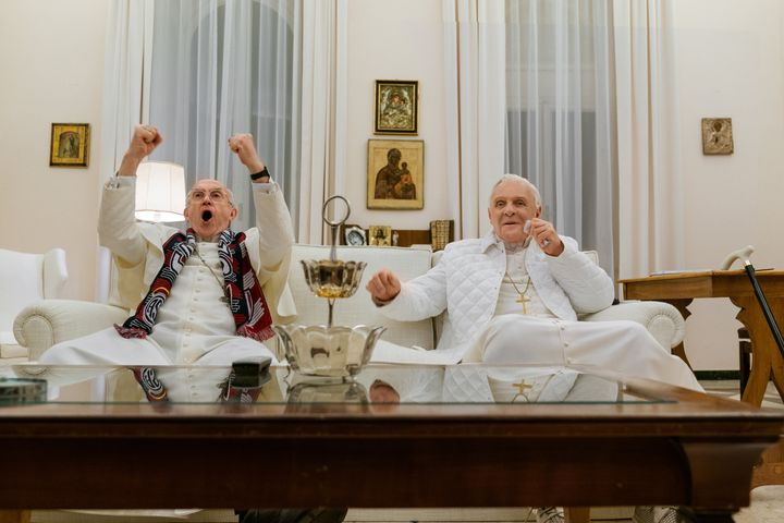 """Jonathan Pryce and Anthony Hopkins in """"The Two Popes."""""""