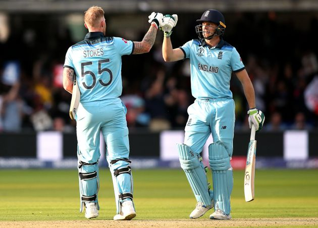 England's Ben Stokes and Jos Buttler after the Super Over during the ICC World Cup Final at Lord's,