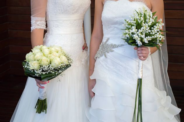 close up of wedding of a lesbian