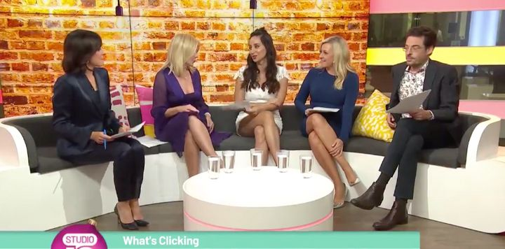 """On Friday Kerri-Anne Kennerley asked journalist Antoinette Lattouf (centre) """"Have you forgot your pants?"""""""