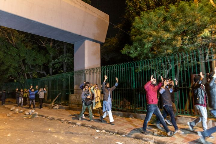 """Police personnel entered the Jamia campus on Sunday and students claimed they were asked to vacate campus with their hands raised. Chief proctor of Jamia Millia Islamia University said police entered the campus """"by force""""."""