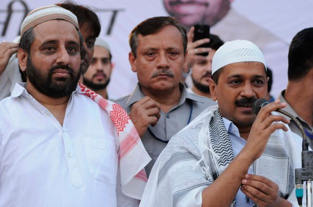 Delhi Chief Minister Arvind Kejriwal (right) with AAP MLA Amanatullah Khan in a file