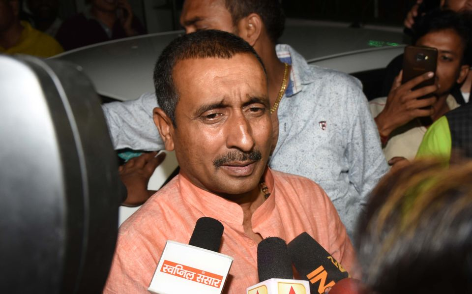 Former BJP MLA Kuldeep Singh Senga speaks to media personnel outside the SSP office, on April 11, 2018...