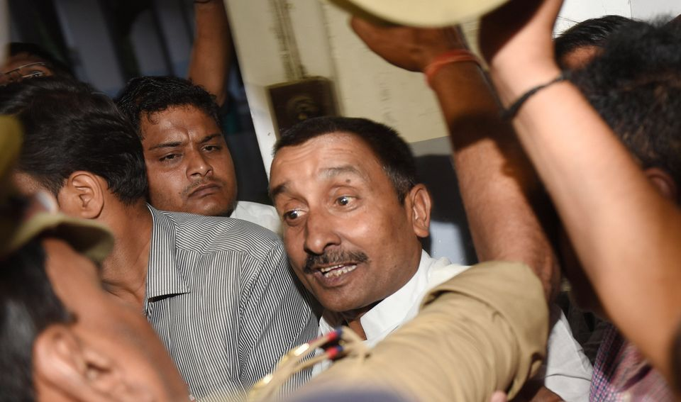 Former BJP MLA Kuldeep Sengar after being produced at the CBI court, on April 14, 2018 in
