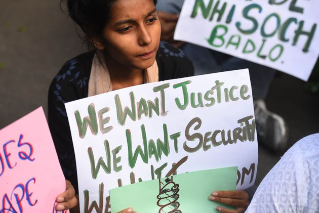 Students protest after a rape case of a veterinary doctor in Hyderabad, on November 30, 2019 in New