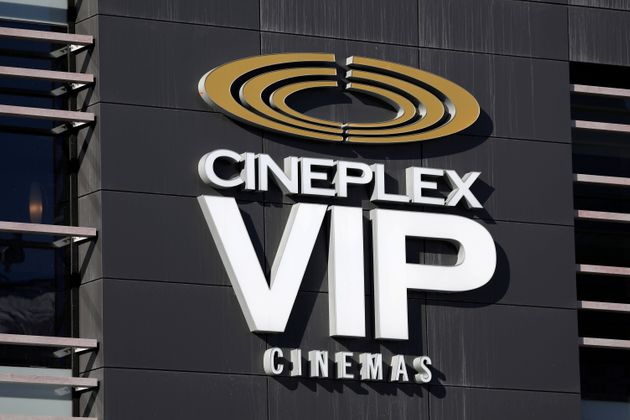 The Cineplex logo is seen outside a movie theatre in Ottawa on Feb. 14, 2019. Canada's largest movie...