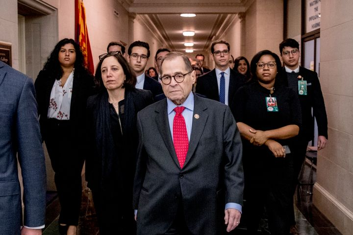 Chairman Jerrold Nadler, D-N.Y. leaves a House Judiciary Committee markup after passing both articles of impeachment, accusin