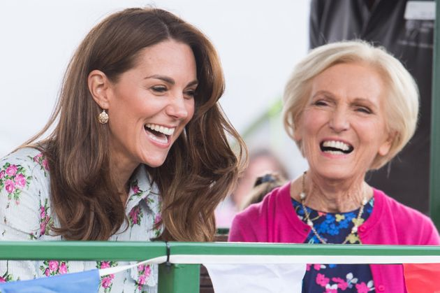 The Duchess of Cambridge and Mary Berry attend the Back to Nature festival at RHS Garden Wisley on Sept....