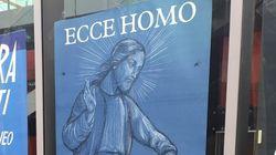 Manifesto blasfemo al Macro, con Gesù eccitato davanti a un bimbo: rimosso dopo le
