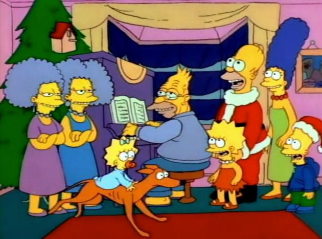 The family gather around the piano in one of The Simpsons' most wholesome moments