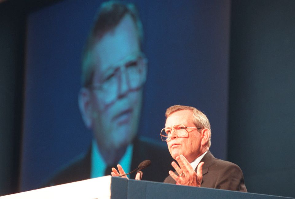 Former Imperial Oil CEO Robert Peterson at an annual general meeting in Toronto in