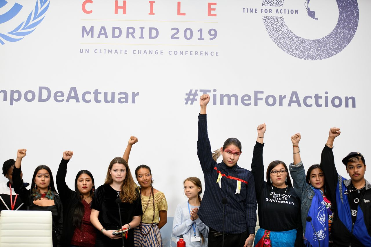 Young climate activists, including Greta Thunberg in Madrid for COP25 on December 9th, 2019.