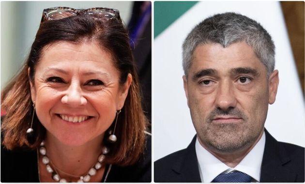 Il ministro per le Infrastrutture, Paola De Micheli, il sottosegretario al Mit, Roberto