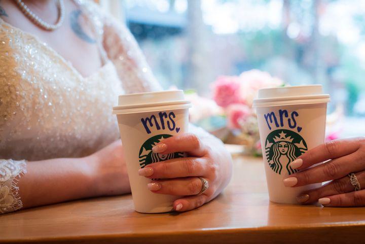 The brides met as baristas at Starbucks.