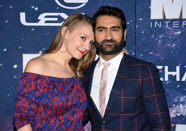 Kumail Nanjiani and Emily V. Gordon attend the world premiere of