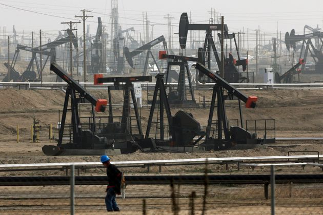 Pumpjacks operate at the Kern River Oil Field in Bakersfield, California, on Jan. 16,