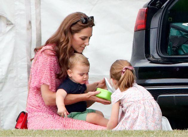 Catherine, Duchess of Cambridge, Prince Louis of Cambridge and Princess Charlotte of Cambridge...