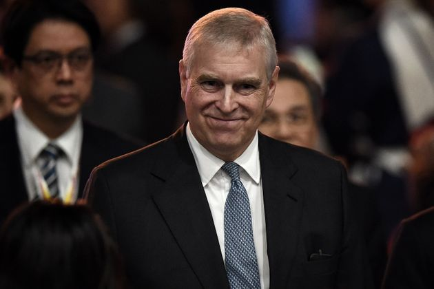 Britain's Prince Andrew, Duke of York leaves after speaking at the ASEAN Business and Investment Summit...