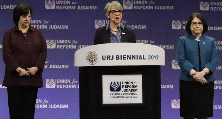 Leaders for the Union for Reform Judaism speak before the passing of a resolution supporting the creation of a federal commis