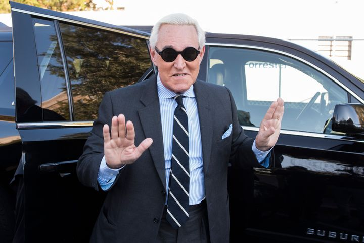Roger Stone arrives for the second day of jury selection in his federal trial in Washington on Nov. 6, 2019.