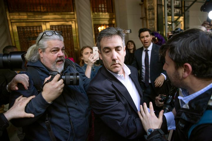 Michael Cohen, former Trump attorney, leaves his apartment building before beginning his three-year prison sentence on May 6,